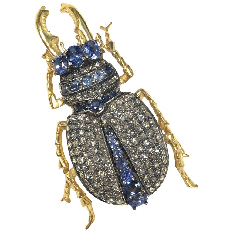 Large Vermeil and Silver Articulated Diamond Sapphire Beetle Bug Brooch For Sale