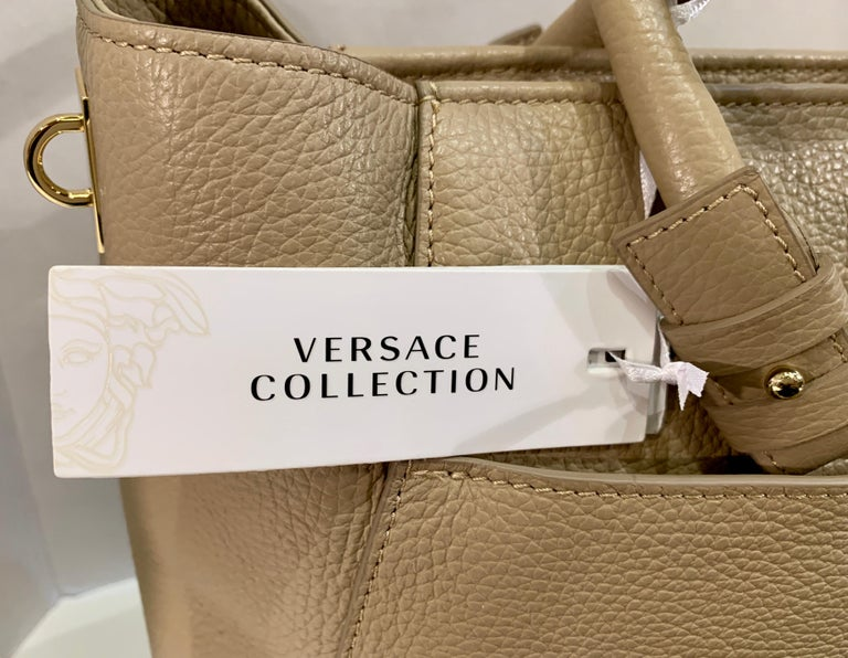 Large Versace Collection Neutral Textured Leather Tote Bag Purse Retail 1765.00 For Sale 5