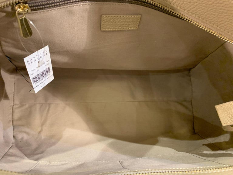 Large Versace Collection Neutral Textured Leather Tote Bag Purse Retail 1765.00 For Sale 7