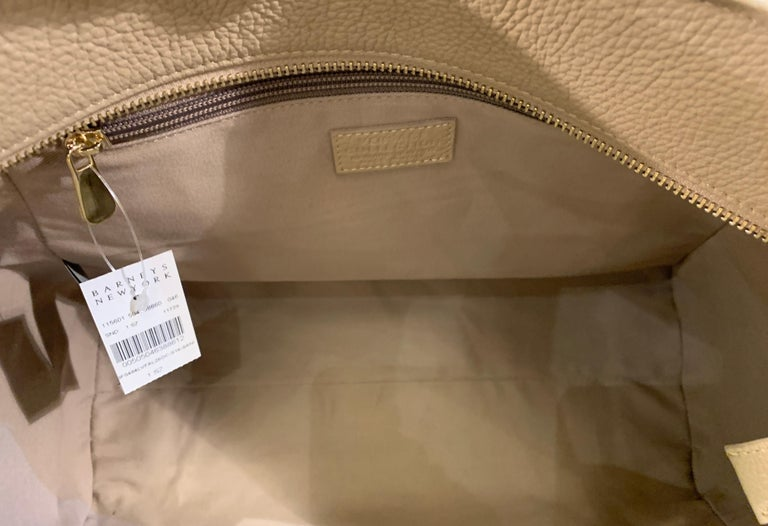 Large Versace Collection Neutral Textured Leather Tote Bag Purse Retail 1765.00 For Sale 8