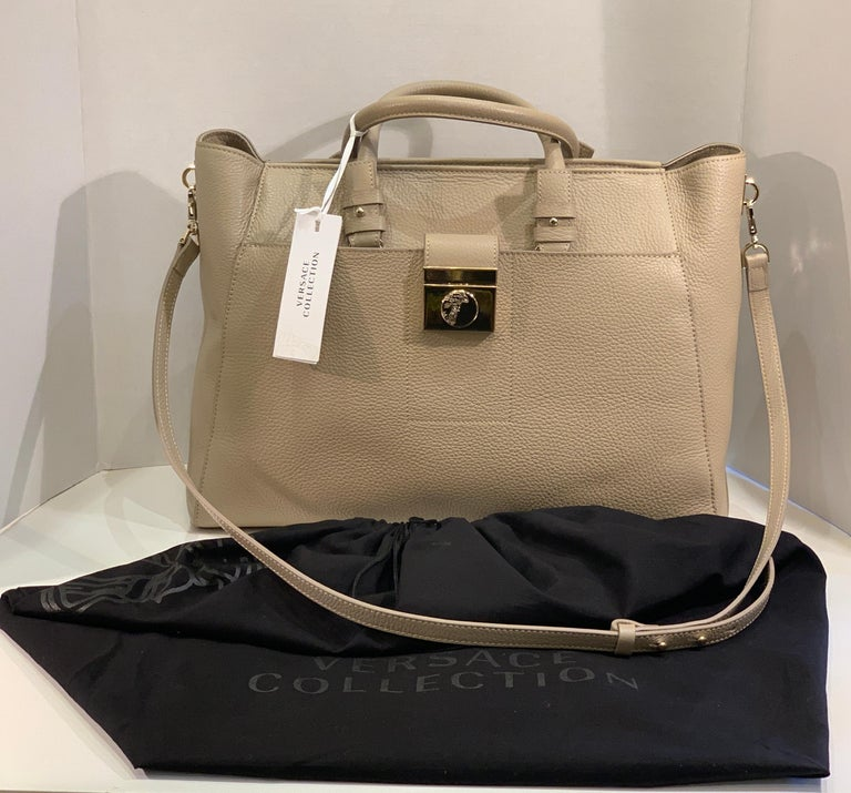Brown Large Versace Collection Neutral Textured Leather Tote Bag Purse Retail 1765.00 For Sale