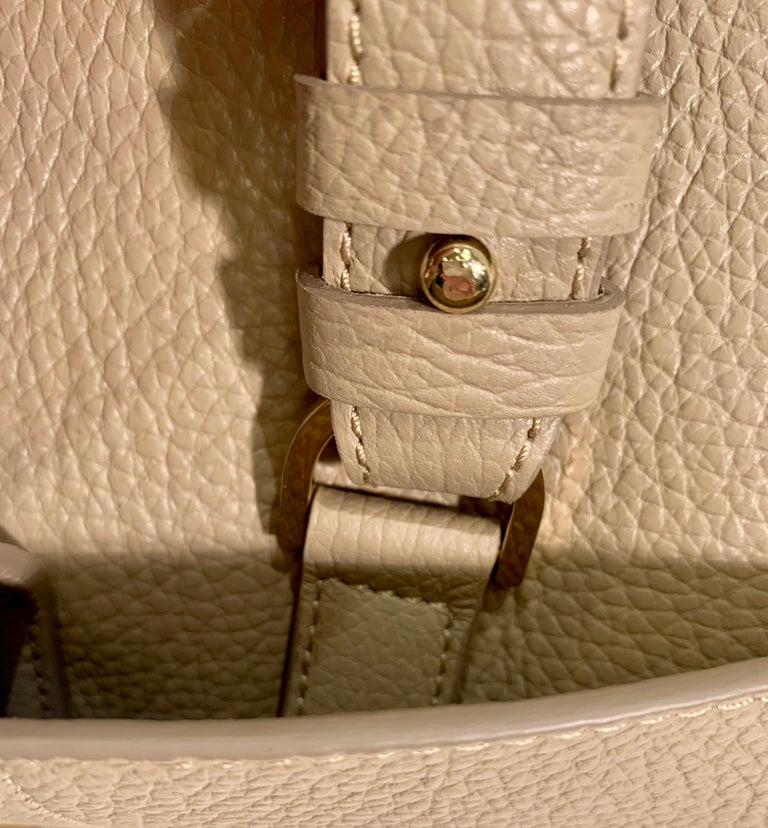 Large Versace Collection Neutral Textured Leather Tote Bag Purse Retail 1765.00 For Sale 1