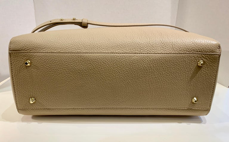 Large Versace Collection Neutral Textured Leather Tote Bag Purse Retail 1765.00 For Sale 2