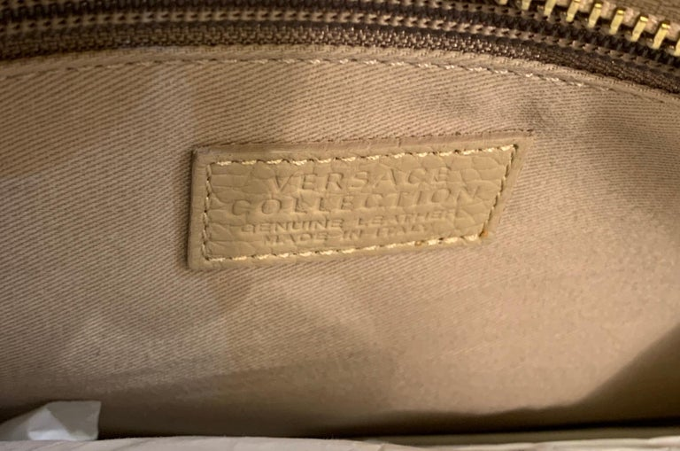 Large Versace Collection Neutral Textured Leather Tote Bag Purse Retail 1765.00 For Sale 3