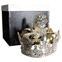 Large & Very Elaborate Costume Jewelry Prong Set AB Clear Rhinestone Crown & Box