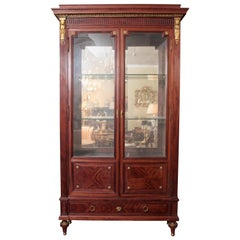 Large Very Fine Mahogany French Louis XVI Viewing Cabinet by P. Sormani