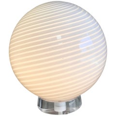 Large Vetri Murano Glass and Lucite Globe Table Lamp