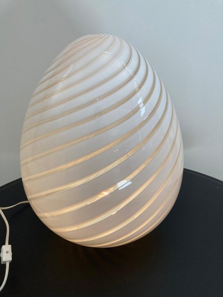 Large Vetri Murano White Egg Table Lamp For Sale 6