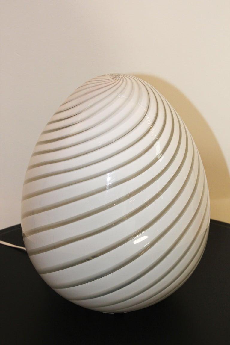 Post-Modern Large Vetri Murano White Egg Table Lamp For Sale