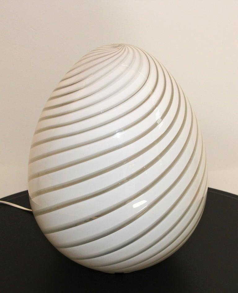 Italian Large Vetri Murano White Egg Table Lamp For Sale