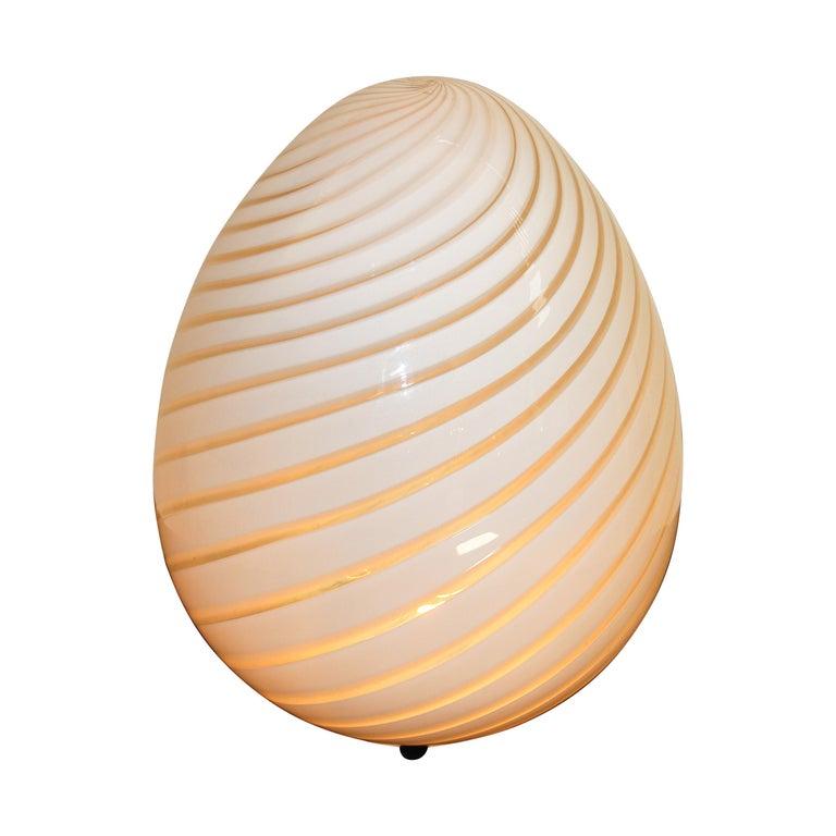Large Vetri Murano White Egg Table Lamp For Sale
