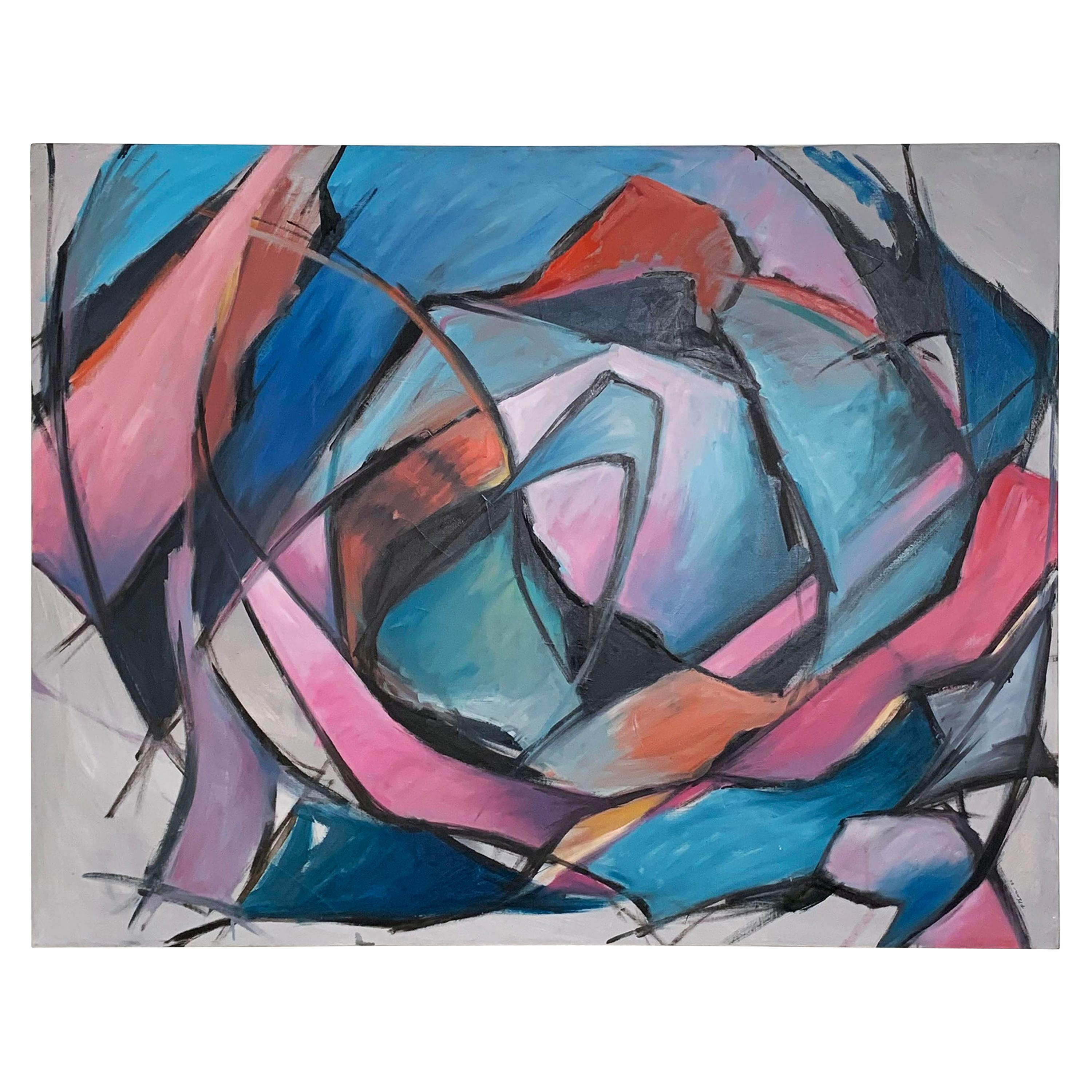 Large Vibrant Abstract Postmodern Painting by Phuc Phan, Dated 1986