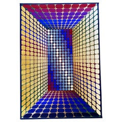Large Victor Vasarely Attributed Geometric 3D Op-Art Carpet Rug, Germany, 1970s