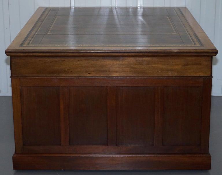 Large Victorian 16-Drawer Double Sided Twin Pedestal Partner Desk Brown Leather 4