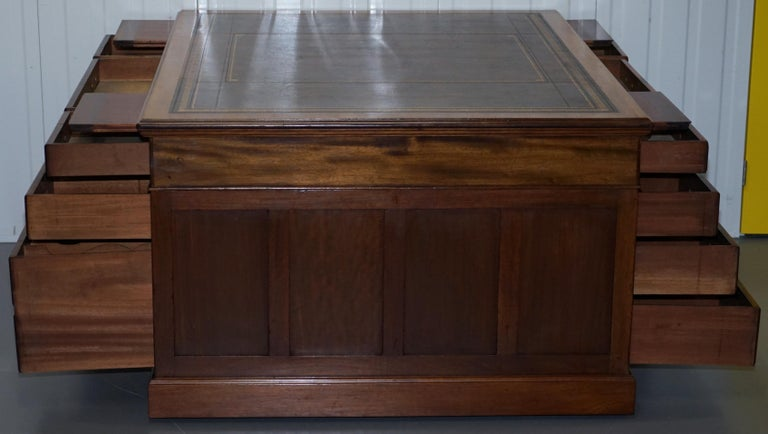 Large Victorian 16-Drawer Double Sided Twin Pedestal Partner Desk Brown Leather 7