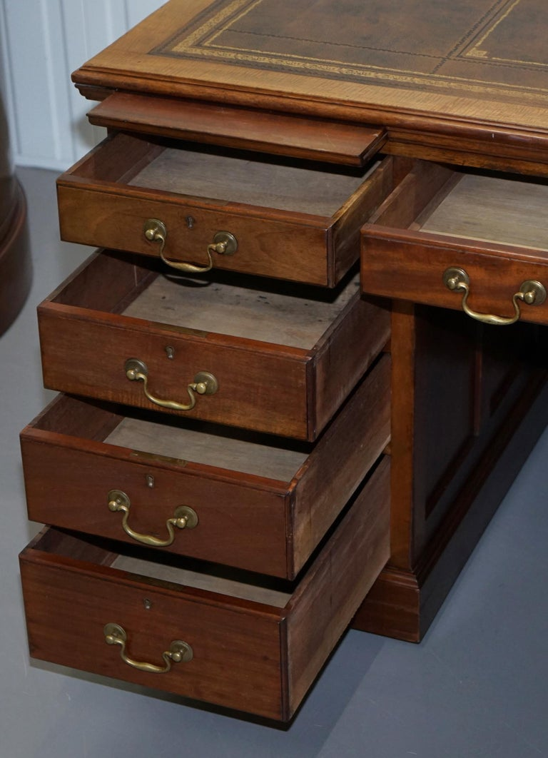 Large Victorian 16-Drawer Double Sided Twin Pedestal Partner Desk Brown Leather 10