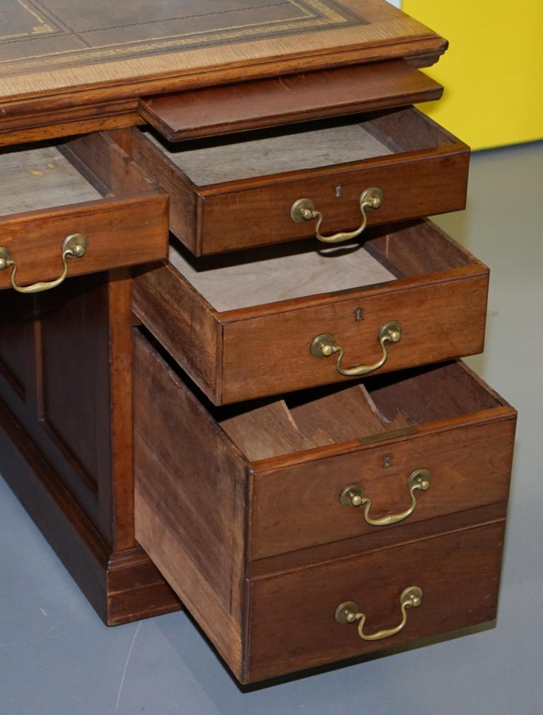 Large Victorian 16-Drawer Double Sided Twin Pedestal Partner Desk Brown Leather 11