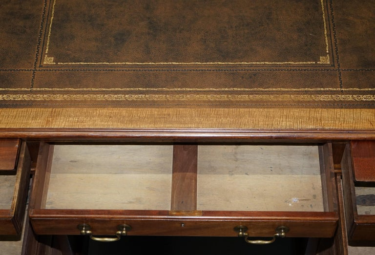 Large Victorian 16-Drawer Double Sided Twin Pedestal Partner Desk Brown Leather 12