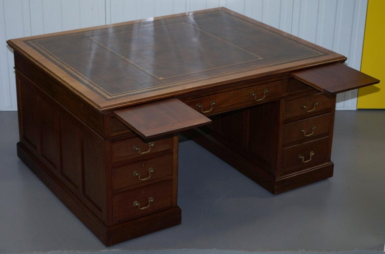 Large Victorian 16-Drawer Double Sided Twin Pedestal Partner Desk Brown Leather 13