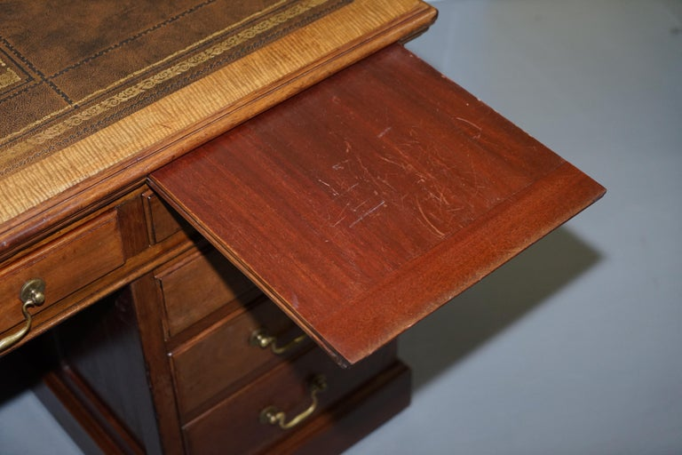 Large Victorian 16-Drawer Double Sided Twin Pedestal Partner Desk Brown Leather 14