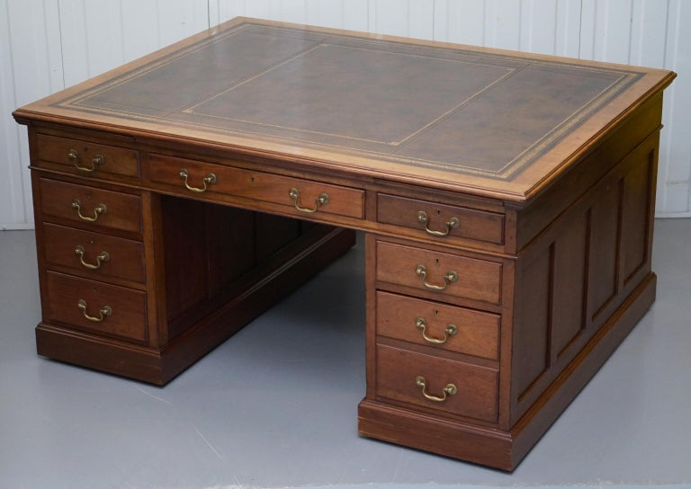 English Large Victorian 16-Drawer Double Sided Twin Pedestal Partner Desk Brown Leather