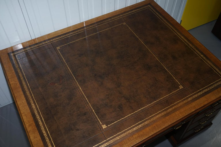 19th Century Large Victorian 16-Drawer Double Sided Twin Pedestal Partner Desk Brown Leather