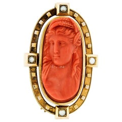 Large Victorian 18 Karat Gold GIA No Dye Carved Coral Cameo Pearl Brooch Pin