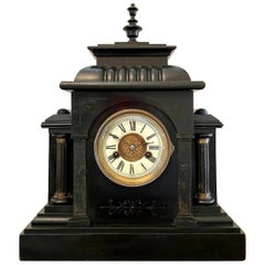 Large Victorian 19th Century Antique Faux Marble Mantel Clock