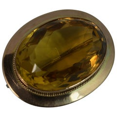 Large Victorian 48 Carat Citrine and 9 Carat Gold Statement Brooch, circa 1880