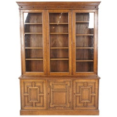 Large Victorian 6 Door Tiger Oak Bookcase Display Cabinet, Scotland 1890, B2375