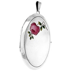 Large Victorian Alpaca Locket with Rose