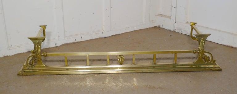 Large Victorian Art Nouveau Brass Fender For Sale 2