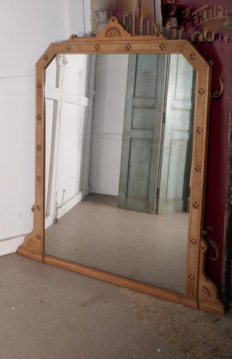 Arts and Crafts Large Victorian Arts & Crafts over Mantle Mirror For Sale