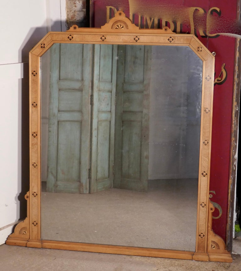 Large Victorian Arts & Crafts over Mantle Mirror In Good Condition For Sale In Chillerton, Isle of Wight