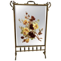 Large Victorian Brass and Roses Painted Mirror Fire Screen