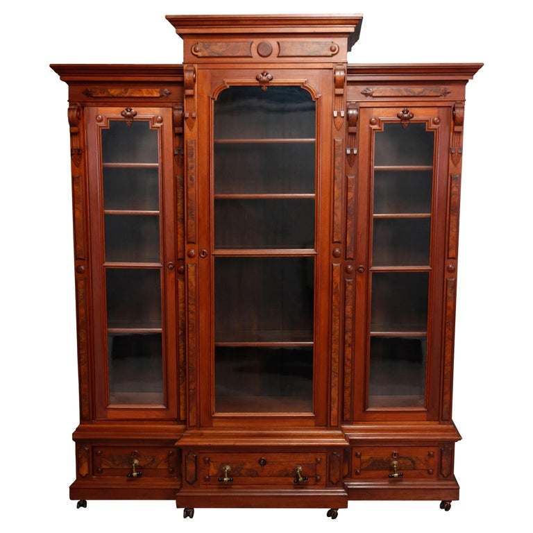Large Victorian Carved Walnut and Burl Enclosed 3-Section Bookcase, circa 1890