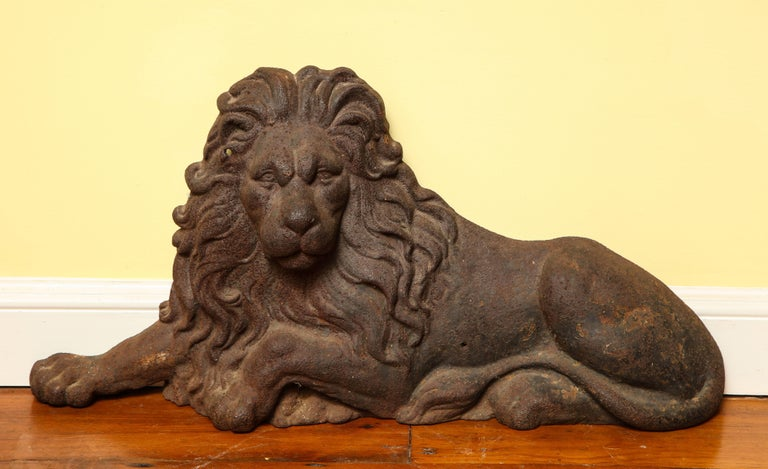 Early Victorian Large Victorian Cast Iron  Recumbent Lion English, circa 1850 In Stock For Sale