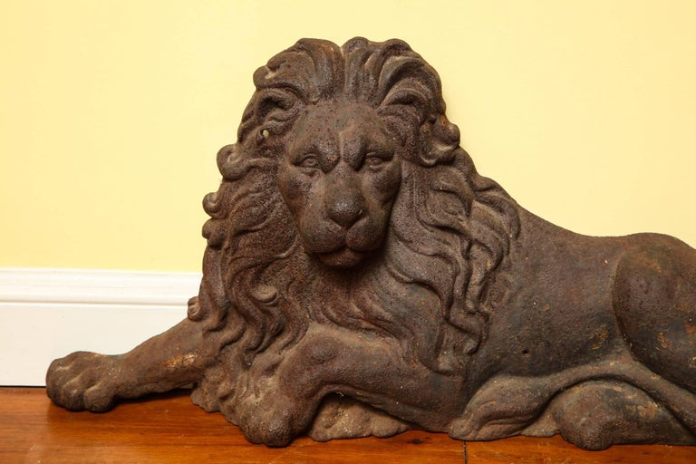 19th Century Large Victorian Cast Iron  Recumbent Lion English, circa 1850 In Stock For Sale