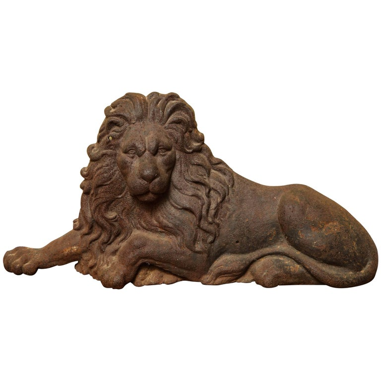 Large Victorian Cast Iron  Recumbent Lion English, circa 1850 In Stock For Sale
