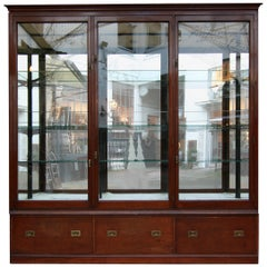 Large Victorian Display Cabinet, Mahogany Shop Showcase, England, circa 1900