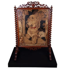 Large Victorian Fire Screen Walnut and Mahogany with Dog Tapestry, circa 1880