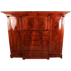 Large Victorian Flamed Mahogany Compactum Wardrobe