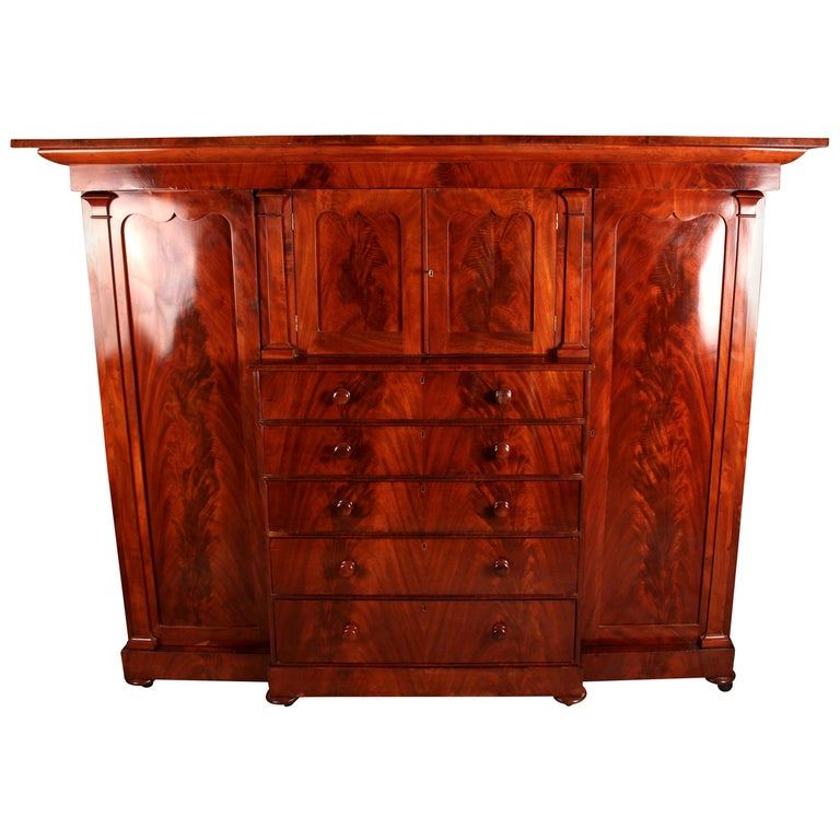 Large Victorian Flamed Mahogany Compactum Wardrobe For Sale