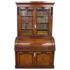 Large Victorian Mahogany Cylinder Bureau Bookcase