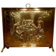 Large Victorian Musicians Scene Brass Fire Screen