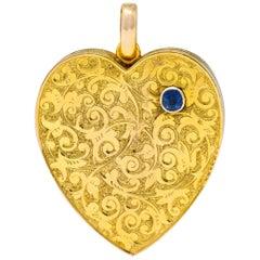 Large Victorian Sapphire 9 Karat Gold Heart Locket, circa 1900