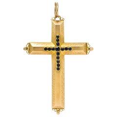 Large Victorian Sapphire 14 Karat Gold Reliquary Cross Pendant