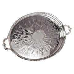 Large Victorian Silver Gallery Tray