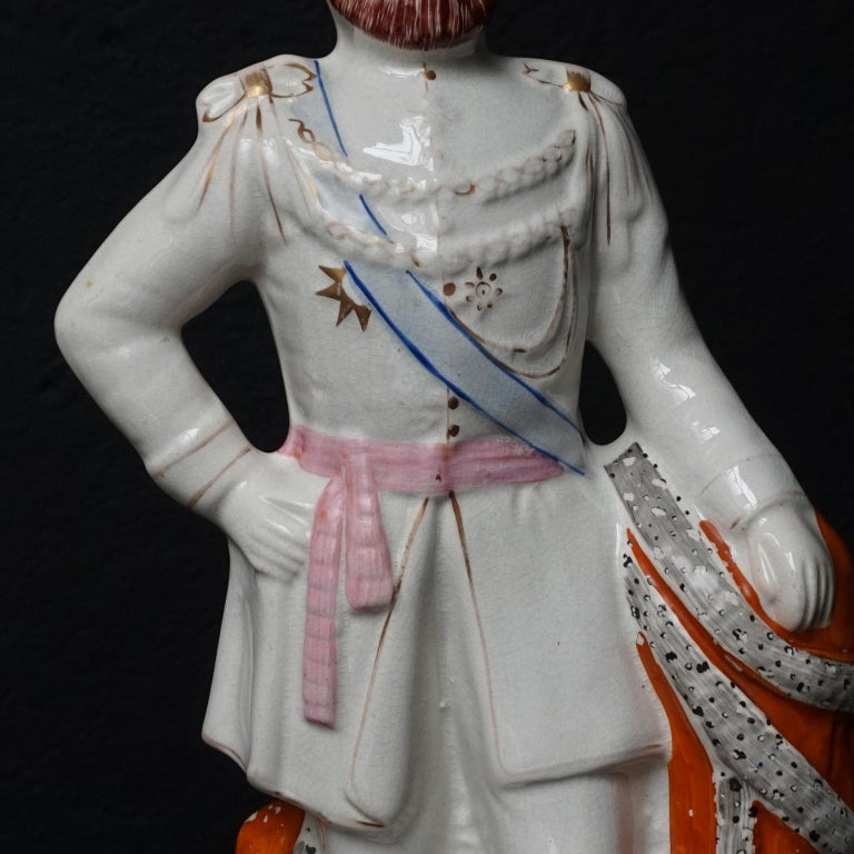 Large Victorian Staffordshire Figurines of Queen Victoria and Prince Albert For Sale 4