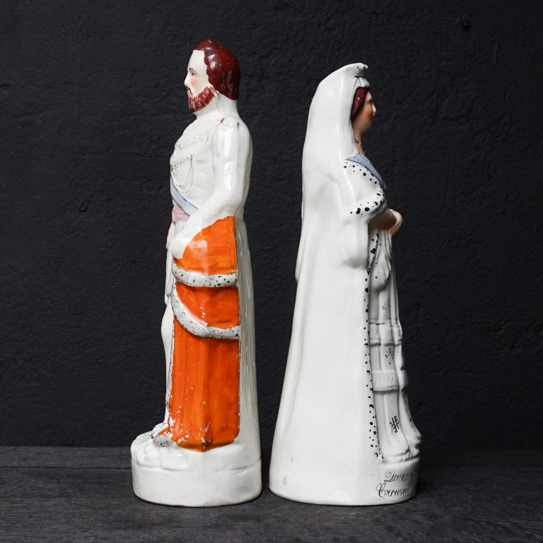 Ceramic Large Victorian Staffordshire Figurines of Queen Victoria and Prince Albert For Sale